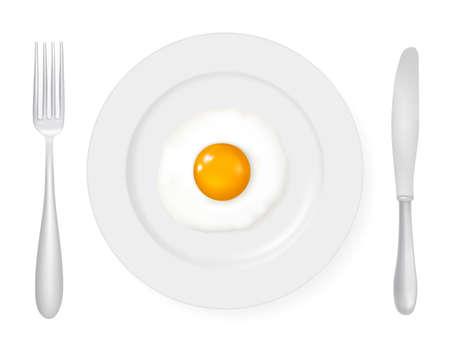 yoke: Fried egg in a plate.  Illustration