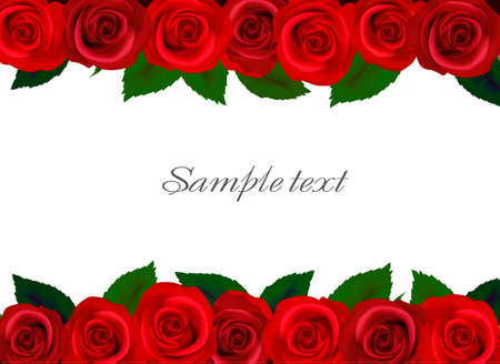 illustration. Background with red roses.  Vector