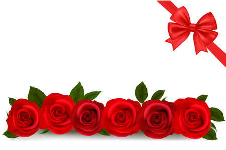 illustration. Background with red roses. Stock Vector - 9934480