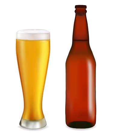 botellas de cerveza: Botella y vaso con cerveza sobre fondo blanco.