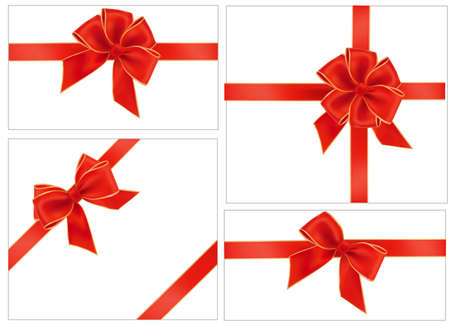 silk ribbon: Collection of red gift bows with ribbons.