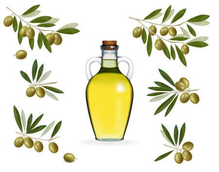 illustration. Big set with green olives with bottle of olive oil.  Vector
