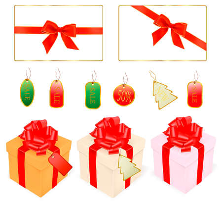 discount banner: illustration of gift bows and holiday discount cards.  Illustration