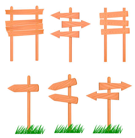 Collection of wooden signs. Vector