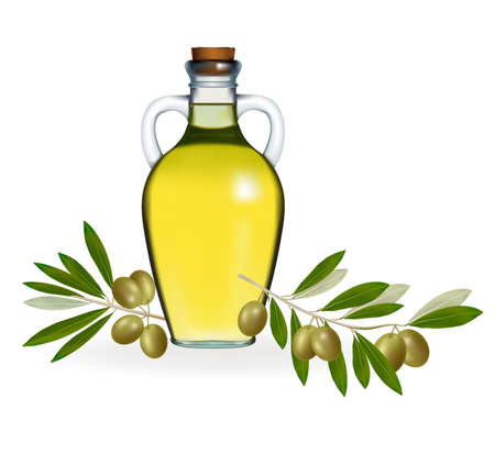 vegetable fat: Vector illustration. Green olives with bottle of olive oil.