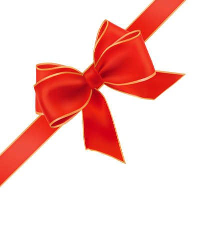 illustration. Red bow with ribbon.