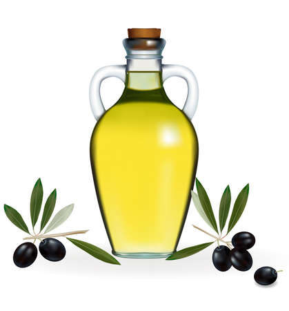 illustration. Black olives with bottle of olive oil.  Vector