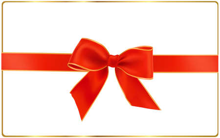 illustration. Holiday red bow with ribbons.  Stock Vector - 9934349