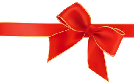 illustration. Holiday red bow with ribbons.