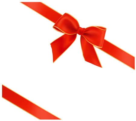 red bow: illustration. Holiday red bow with ribbons.