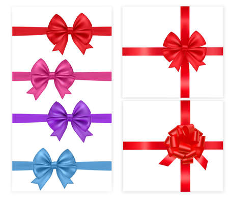 illustration. Collection of holiday bows with ribbons.  Stock Vector - 9934362