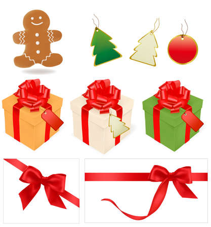 illustration of christmas gifts and elements. Stock Vector - 9934487