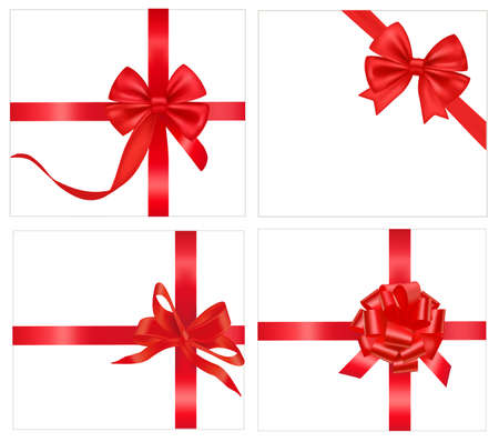 illustration. Collection of holiday bows with ribbons.  Vector
