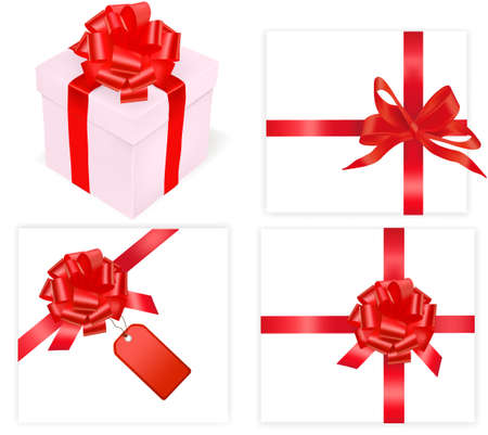 illustration. Collection of holiday bows with ribbons. Stock Vector - 9934508