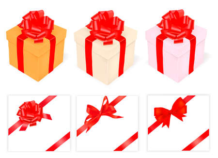 illustration. Collection of holiday bows with ribbons.  Stock Vector - 9934505