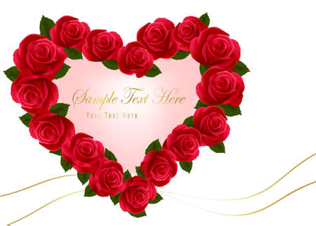 Valentine`s day card. Beauty red rose with bow and ribbons. Vector. Vector