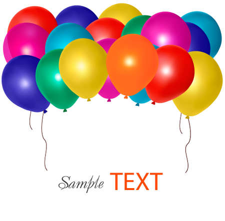 float fun: Balloons frame composition with space for your text. Vector illustration.