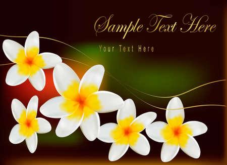tahiti: Background with frangipani flowers. Vector illustration.