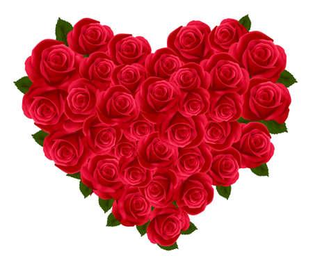 corazon: Aniversario o Valentine corazón hecha de rosas. Ilustración vectorial. Vectores