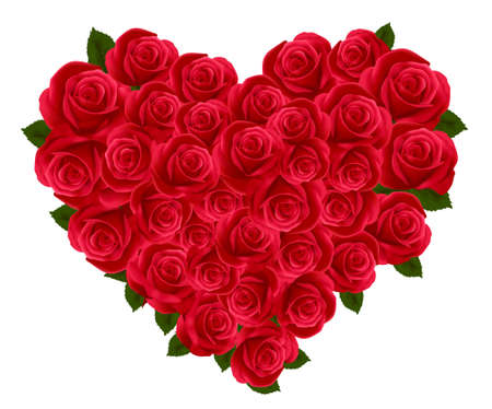 bunch of red roses: Anniversary or Valentine Heart Made Out of Roses. Vector illustration. Illustration