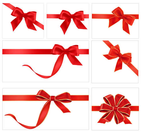 Big collection of red gift bows. Vector. Illustration