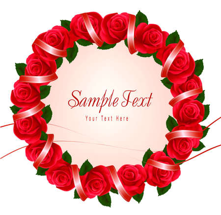 Wreath made of red roses with ribbons. Vector illustration. Vector