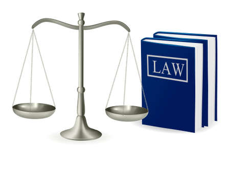 law scale: Brass scales of justice and law books . Vector illustration.