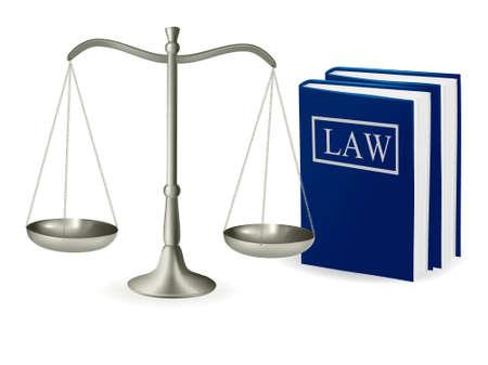 Escalas de latón de libros de derecho y justicia. Ilustración vectorial.