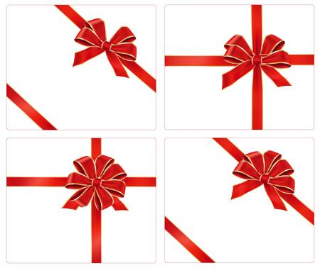 Big collection of red gift bows. Vector. Vector