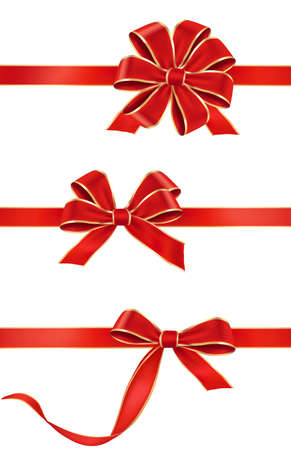 Gift red bow with a ribbon vector big collection of red gift bows vector negle Image collections