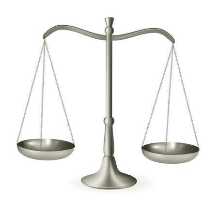apalancamiento: Plata balanza de la justicia. Ilustraci�n vectorial.