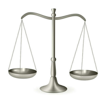outweigh: Silver scales of justice. Vector illustration.