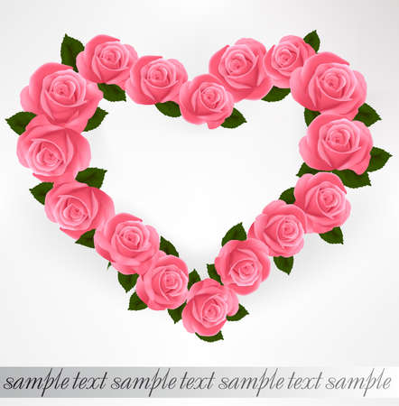 Pink roses Heart shape. Vector illustration. Ilustracja
