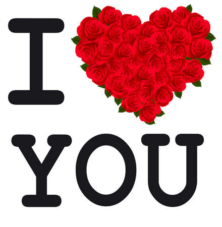 i love: I love you with heart made from roses. Vector,
