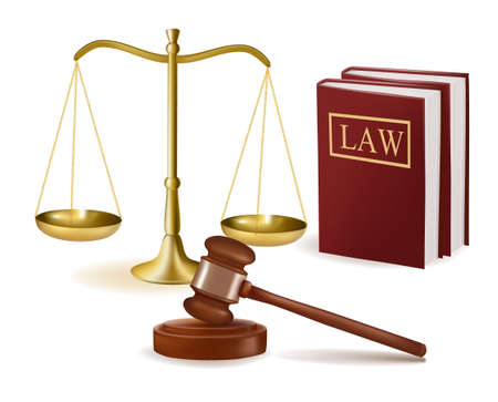 Judge gavel with law books and scales. Vector illustration.