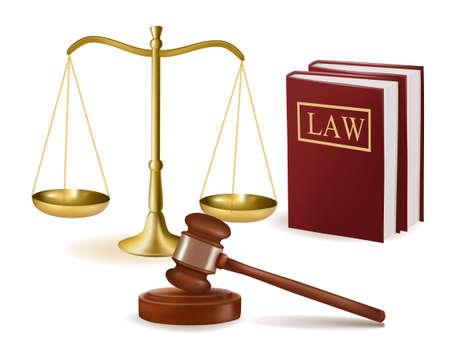 abogado: Juzgue el mazo con los libros de leyes y escalas. Ilustraci�n del vector.