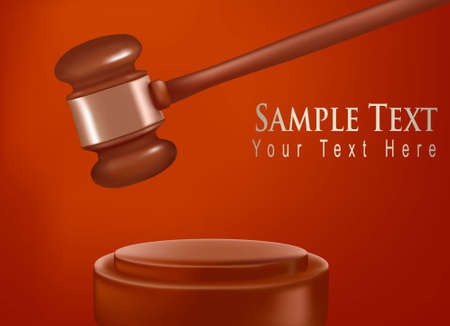 illegal trading: Background with judge gavel. Photo-realistic vector.