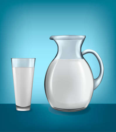 yogurt natural: Jarra de leche y vaso de leche. Vector.