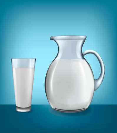 pitcher: Milk jug and glass of milk. Vector. Illustration