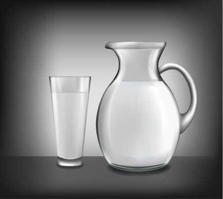 ミルク水差し、牛乳のガラス。ベクトル。