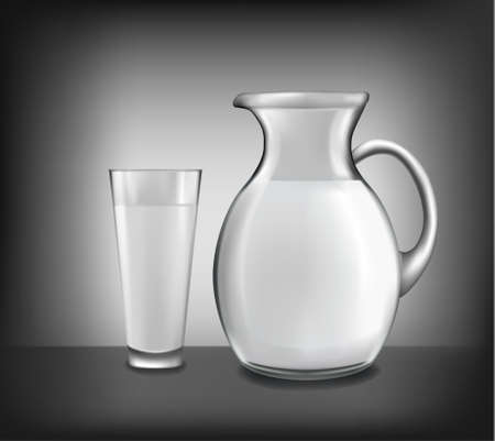 milk jug: Milk jug and glass of milk. Vector. Illustration