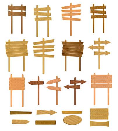 letreros: Colecci�n de signo de madera. Ilustraci�n del vector.