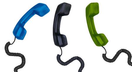 Drie telefoon ontvangers met kabels. vector illustratie.
