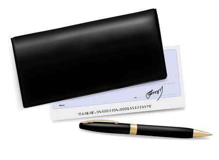 chequera: Chequera negro con verificación y pluma. Ilustración vectorial.