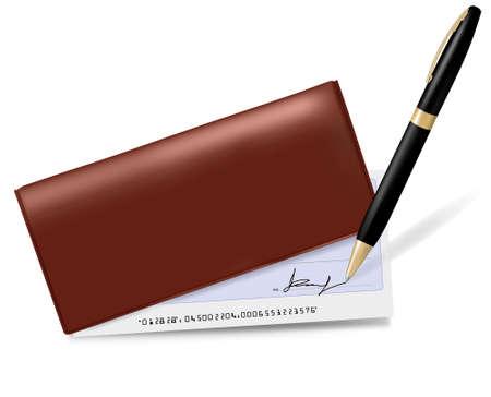 personal banking: Libretto degli assegni con controllo e penna. Illustrazione vettoriale. Vettoriali
