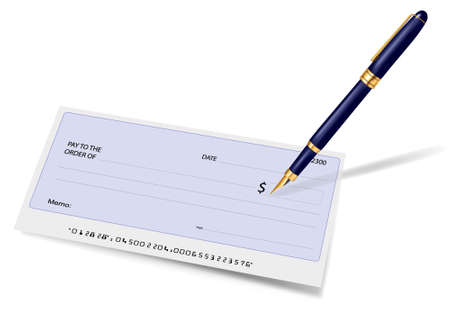 checkbook: Blank check and pen. Vector illustration.