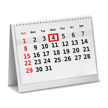 months: Desktop calendar with a marked date. Vector.
