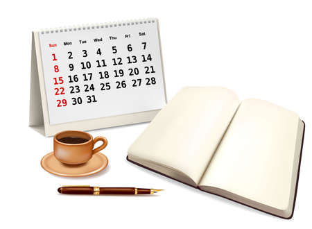 sunday: Calendar, coffee, pen and a book.