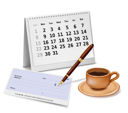 coffee company: Blank cheque with pen, calendar and a cup of coffee. illustration.