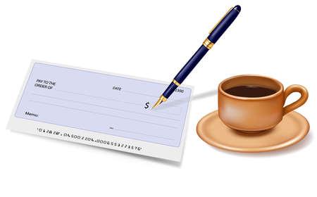 chequera: Cheque en blanco con la pluma y la taza de café. Ilustración vectorial. Vectores